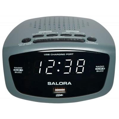 CR627USB radio-réveil USB/FM blanc Salora