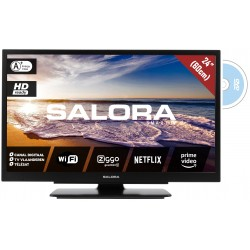 "24LED9109CTS2DVDWIFI 24""/60 cm travel TV 12/230 Volt Smart Wifi DVD zwart  Salora"