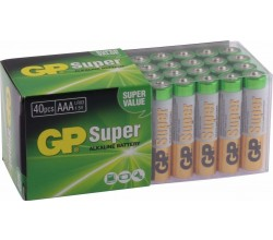 Super Alkaline AAA Micro penlite, multipack 40 GP Batteries