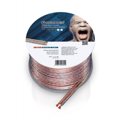 302 câble HP 2x4mm² 20m transparent Oehlbach