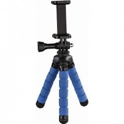 Ministatief Flex voor smartphone en GoPro. 14 cm. blauw