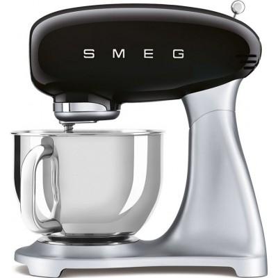 SMF02BLEU zwart met zilver Smeg