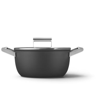 Kookpot met glazen deksel 24 cm zwart