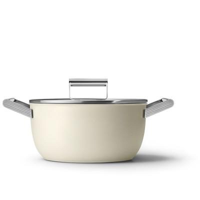 Kookpot met glazen deksel 24 cm crème  Smeg