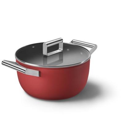 Kookpot met glazen deksel 24 cm rood