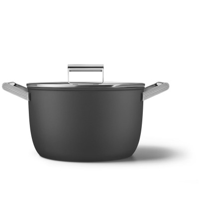 Kookpot met glazen deksel 26 cm zwart  Smeg