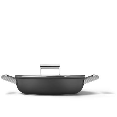 Sauteerpan met glazen deksel 28 cm zwart  Smeg
