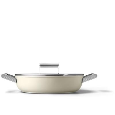 Sauteerpan met glazen deksel 28 cm crème  Smeg