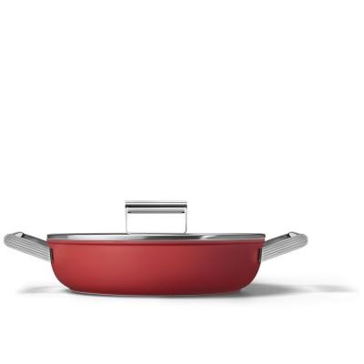Sauteerpan met glazen deksel 28 cm rood  Smeg