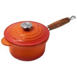 Gietijzeren steelpan met deksel in Oranjerood 18cm 1,8l