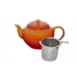 Theepot met RVS filter 1l Oranjerood