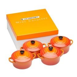 4 Mini braad-/stoofpannetjes in cadeauverpakking Oranjerood  Le Creuset