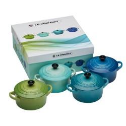 4 Mini braad-/stoofpannetjes in cadeauverpakking Mix Groen/Blauw  Le Creuset