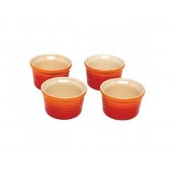 Set van 4 Ramekins 0,12l Oranjerood  Le Creuset