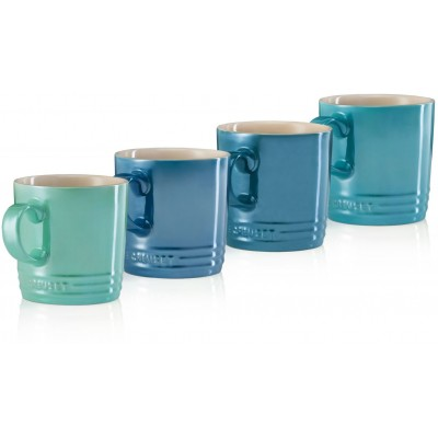 Set 4 mokken Metallic Cool Mint, Caribbean Blue, Deep Teal, Marseille 0,35l Le Creuset