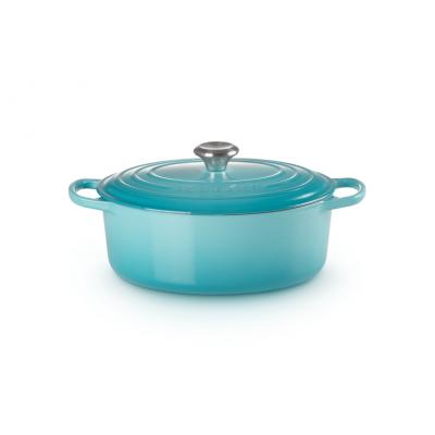 Gietijzeren ovale braadpan in Caribbean Blue 29cm 4,7l  Le Creuset