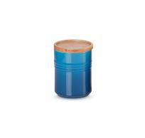 Aardewerken voorraadpot met houten deksel in Marseilleblauw 10cm 540ml