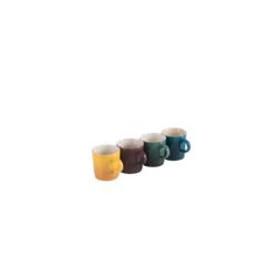 Aardewerken set van 4 Espressokopjes 100ml in Deep Teal, Artichout, Fig en Nectar