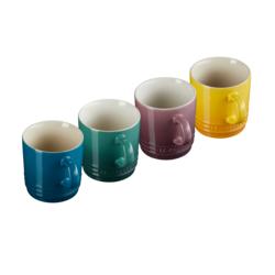 Aardewerken set van 4 Koffiekopjes 200ml in Deep Teal, Artichout, Fig en Nectar