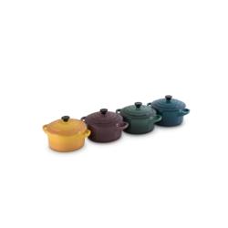 Aardewerken set van 4 Mini-braadpannetjes 0,25l in Deep Teal, Artichout, Fig en Nectar
