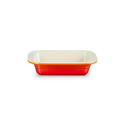Classic Rechthoekige Ovenschaal met brede rand Oranjerood