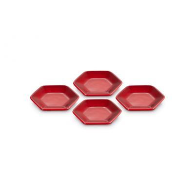 Hexagon serveerschaaltjes 4 stuks Kersenrood