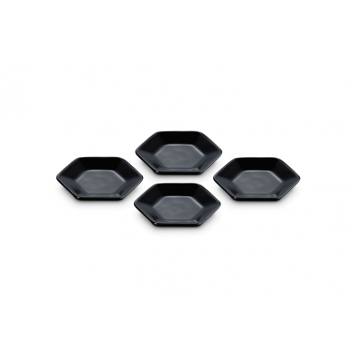 Hexagon serveerschaaltjes Ebbenzwart (4 stuks)
