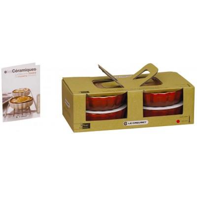 Set van 4 taartvormen 11cm Kersenrood  Le Creuset