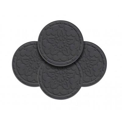 Set van 4 pannenlappen 10cm Zwart Le Creuset