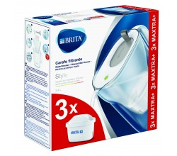 Waterfilterbundel Style Cool grey + 3 MAXTRA+ filterpatronen Brita