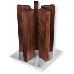 Messenblok Stonehenge Walnotenhout met roestvrij stalen voet voor 10 messen  Kai