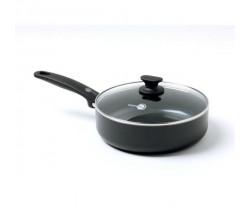 Cambridge Black/Black rechte sauteuse met deksel 24cm / 3.10L GreenPan