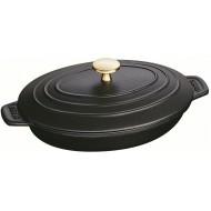 Warm bord ovaal 23x17cm Zwart