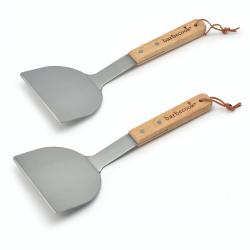 set van 2 plancha spatels uit rvs en hout 31cm fsc-100%