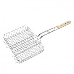 dubbel rooster uit chroom en berkenhout 31.5x25x5cm fsc-100%  Barbecook