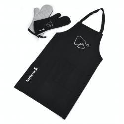 set van schort en lange handschoenen zwart 40cm  Barbecook