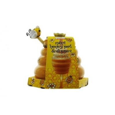 Honingpot met honinglepel bijenkorf 8.3x8.6x9.5cm