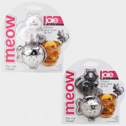 Meow thee infuser uit rvs kat zwart of wit 9x6x4.5cm   JOIE