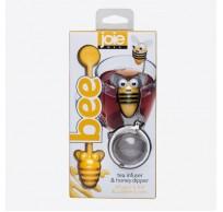 Bee thee infuser uit rvs en honinglepel geel bij