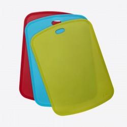 set van 3 snijmatten uit kunststof groen, blauw en rood   JOIE