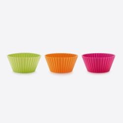 set van 12 geribde muffinvormen uit silicone roze, oranje en groen Ø 7cm H 3.5cm