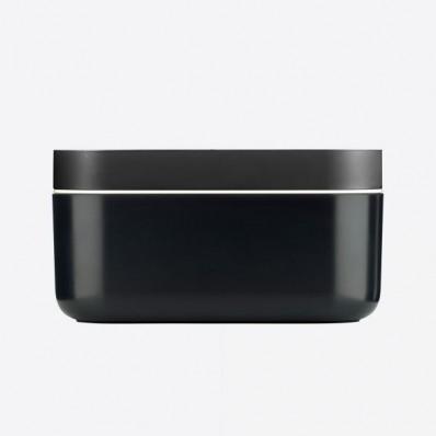 rechth. ijsemmer met ijsblokjesvorm uit silicone en ABS zwart 22.5x12.5x11.6cm