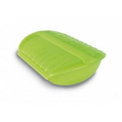 stomer voor magnetron voor 3-4 personen uit silicone groen 27.5x12x8cm