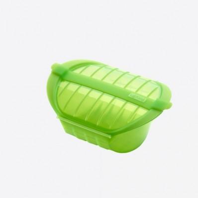 stomer voor magnetron voor 1-2 personen uit silicone groen 21.2x15.5x8.5cm