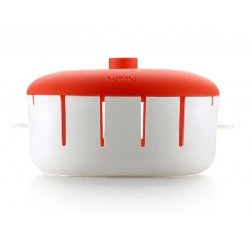 kom om 8 brochettes te maken in de magnetron rood en wit 23.1x20.2x11.5cm  Lékué
