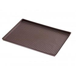 Rechthoekige pizzavorm met gaatjes uit silicone bruin 40x30x0.2cm