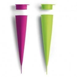 set van 3 ijsjesvormen calippo uit silicone groen en roze 4x4.8x20.2cm  Lékué