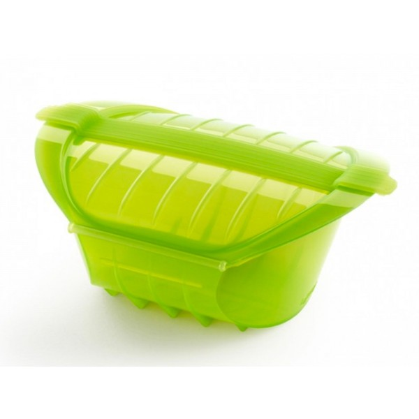stomer voor magnetron voor 1-2 personen uit silicone groen 24x12.4x5cm
