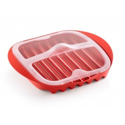 magnetron bord voor spek uit kunststof rood 25x27.7x6.8cm (6st./disp.)