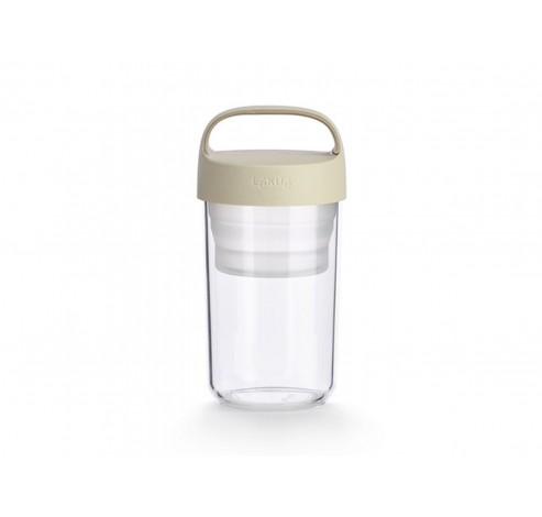 snackdoos Jar To Go met vouwbaar compartiment uit Tritan gebroken wit 400ml  Lékué